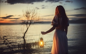 lights, girl, lantern
