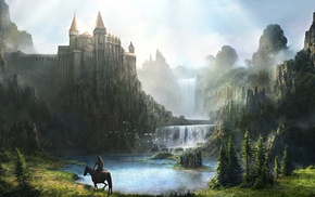 waterfall, castle, fantasy, art