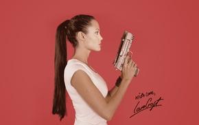 pistol, celebrity, Angelina Jolie, Lara Croft, actress