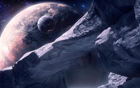 planet, space, satellite, art, stars