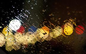 drops, water, lights, macro, rain