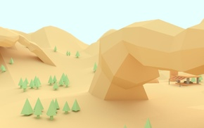 trees, mountain, low poly, digital art