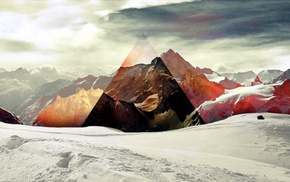 triangle, 3D, mountain, snow, colors