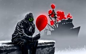 Vitaly S Alexius, Romantically Apocalyptic, gas masks, apocalyptic, balloons