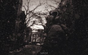 sepia, gas masks, survival