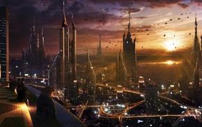 city, cityscape, futuristic