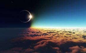 clouds, space, solar eclipse, moon, eclipse, Sun
