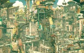 city, Imperial Boy, drawing, futuristic