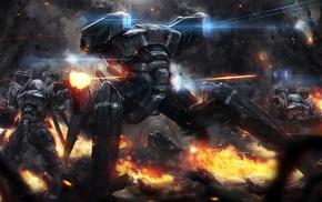 mech, concept art, robot, fantasy art, destruction, war