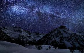 горы, природа, звезды