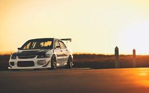 sunset, evo, Mitsubishi, car