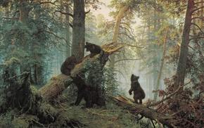 лес, медведи, произведение искусства, животные