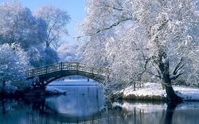 lake, snow, bridge, landscape, winter, nature