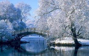 lake, snow, bridge, landscape, winter, nature