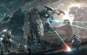 robot, artwork, concept art, mech, fantasy art, war