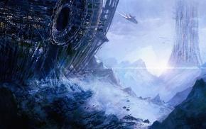 planet, space, fantasy art, spaceship, concept art, artwork