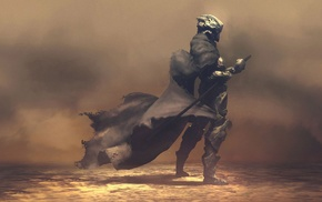 soldier, fantasy art, futuristic, smoke, samurai, artwork