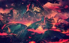 lava, digital art, artwork, abstract, skull