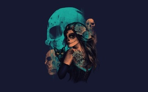 Sugar Skull, girl, fantasy art, artwork, skull