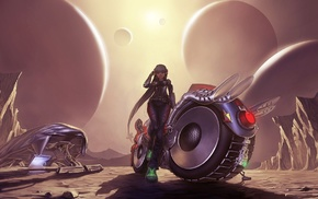 artwork, girl, concept art, futuristic, fantasy art, spaceship
