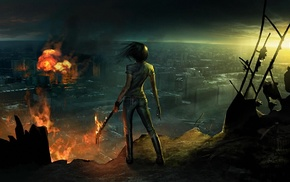 artwork, concept art, fantasy art, warrior, girl, apocalyptic