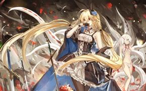 меч, девушки из аниме, длинные волосы, аниме, блондинка
