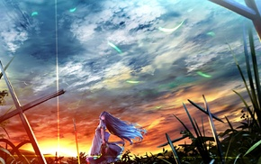 Hinanawi Tenshi, cross, sunset, anime girls, Touhou, anime