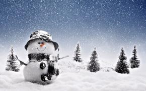 hat, winter, snow, snowman