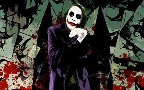 movies, MessenjahMatt, paint splatter, Joker, cards, The Dark Knight