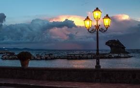pier, nature, night, coast, sea