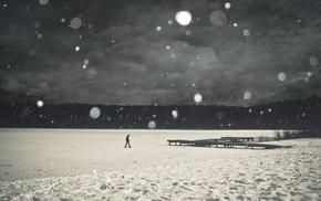 монохром, озеро, человек, снег, лед