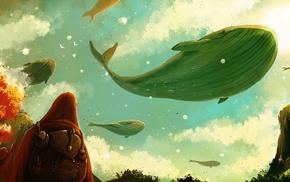 птицы, небо, облака, фантастическое исскуство, кит