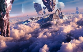 mountain, planet, artwork, concept art, space, floating
