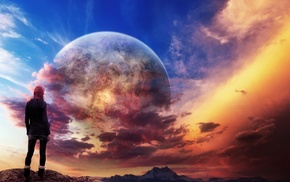 colorful, girl, fantasy art, concept art, planet, sky