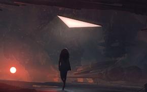 девушка, концептуальное искусство, произведение искусства, космический корабль, рыжие