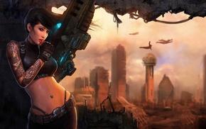 city, girl, fantasy art, war, artwork, futuristic