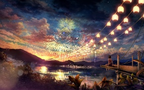 concept art, girl, fireworks, colorful, lake, artwork