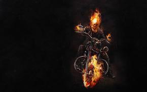 огонь, ghost rider, байк, фильмы, Призрачный гонщик, скелет
