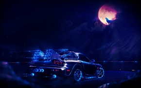 concept art, artwork, neon, fantasy art, car