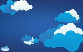 белый, облака, минимализм, синий