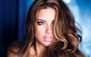 Adriana Lima, face, blue eyes, girl, model, brunette
