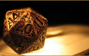 numbers, Dungeons and Dragons, d20, dice, closeup, gold