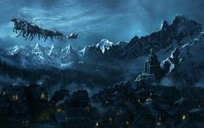 Santa Claus, Christmas, landscape