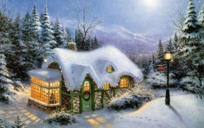 trees, lodge, snow, winter