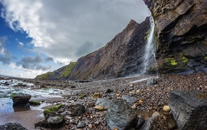 stones, sky, coast, nature, waterfall