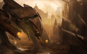 futuristic, robot, fantasy art, concept art, artwork, city