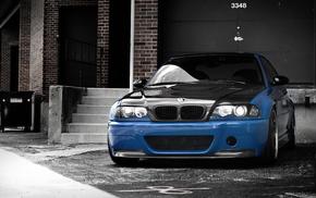 синий, автомобили, бмв, Bmw, e46, карбоновый капот
