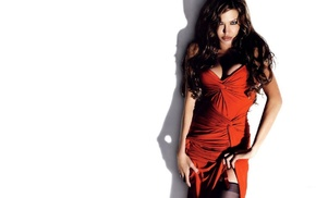 blue eyes, red dress, cleavage, white background, Angelina Jolie