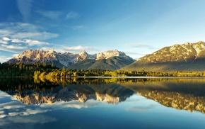 Канада, отражение, пейзаж, горы, природа