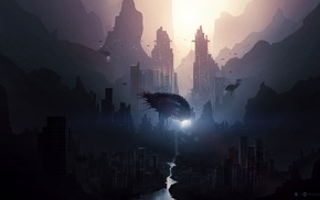 digital art, spaceship, city, artwork, fantasy art, concept art